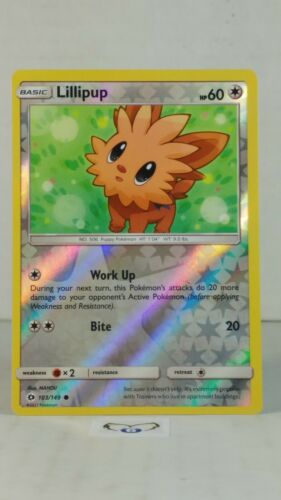 Base  Reverse Holo   Mint//NM  Pokemon Lillipup 103//149 Sun /& Moon