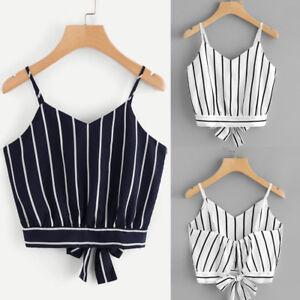 Summer-Sexy-Women-Self-Tie-Back-V-Neck-Striped-Crop-Cami-Top-Camisole-Blouse-Hoc