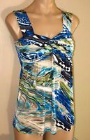 $125+ Casting France Blue Green Black Abstract Print Long Knit Stretch Top M T3 on Sale