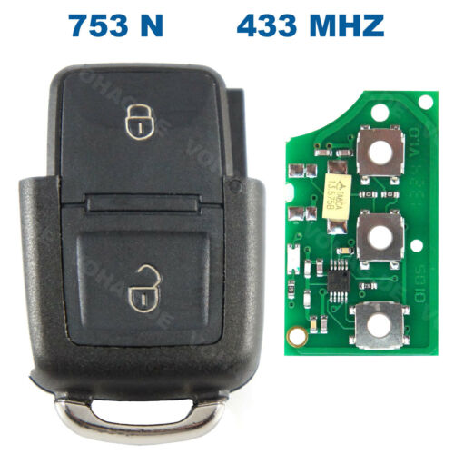 2 Tasten Klappschlüssel Volkswagen 433 mhz Seat Schlüssel VW Sender 1J0959753N