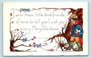 NICE-EARLY-1900s-WHITNEY-CHRISTMAS-POSTCARD-CHILD-w-SNOWBALLS-amp-BIRDS-V3