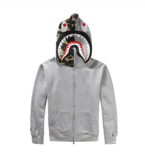 HOT Bape A Bathing Ape HOODIE Jacket SHARK Head Camo FULL ZIP Long Sleeve Coat