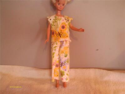 DOLL CLOTHES  BARBIE PAJAMAS SET SHORT SMALL BUTTERFLY PRINT