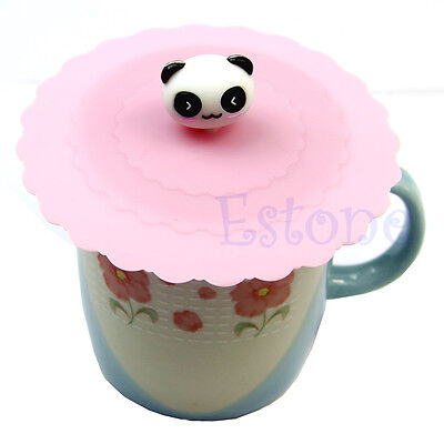 Anti-dust Silicone Cute Glass Cup Cover Coffee Mug Suction Seal Lid Cap Cartoon