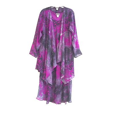 Women's Plus size Printed Two Piece Duster Jacket Dress Sets sizes 1X-2X-3X NWT