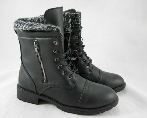New Ladies Comfort Black Heel Ankle Combat Knitted Top Shoes Boots UK Sizes 2-7