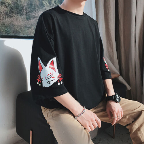 US Mens loose Harajuku short sleeves basic tee boyfriend style black Tshirt size
