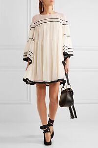3295-Chloe-AUTH-NEW-Cream-Silk-Crepon-Black-Striped-Swing-Mini-Trapeze-Dress-38