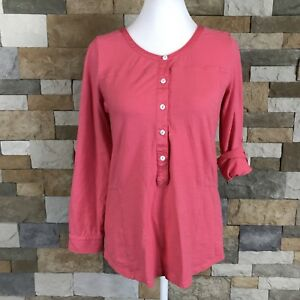 Soft-Surroundings-Womens-XS-Salmon-Pink-Henley-Top-Popover-Shirt-Tab-Sleeve