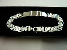 Mens Solid Sterling Silver.925 Byzantine ID Bracelet *Free Engraving* 29 grams
