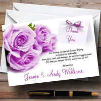 Beautiful Lilac / Purple Rose Personalised Wedding Thank You Cards