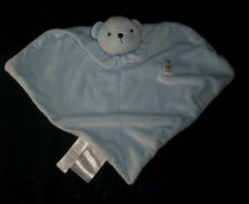 JUST ONE YEAR BLUE BABY TEDDY BEAR RATTLE SECURITY BLANKET STUFFED PLUSH TOY