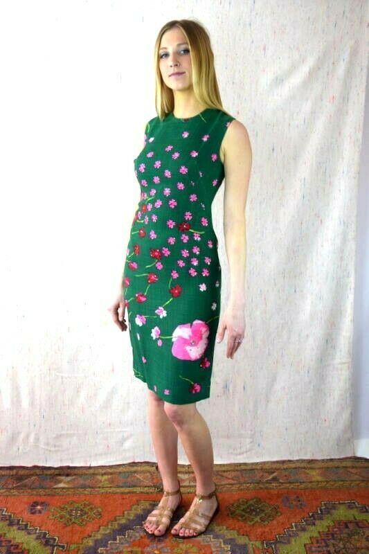 Vintage 60s Grün & Rosa Midi Shift Dress Rhinestone Linen Floral Sleeveless XS