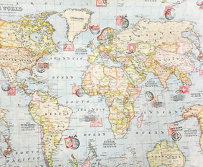 """100% PREMIUM COTTON FABRIC-140cm/55"""" Wide- VINTAGE WORLD ATLAS - MAPS - NAUTICAL"""
