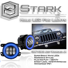 "30W CREE 4"" In LED Fog Light WHITE Halo Angel Eyes (BLUE) Wrangler JK 07-16"
