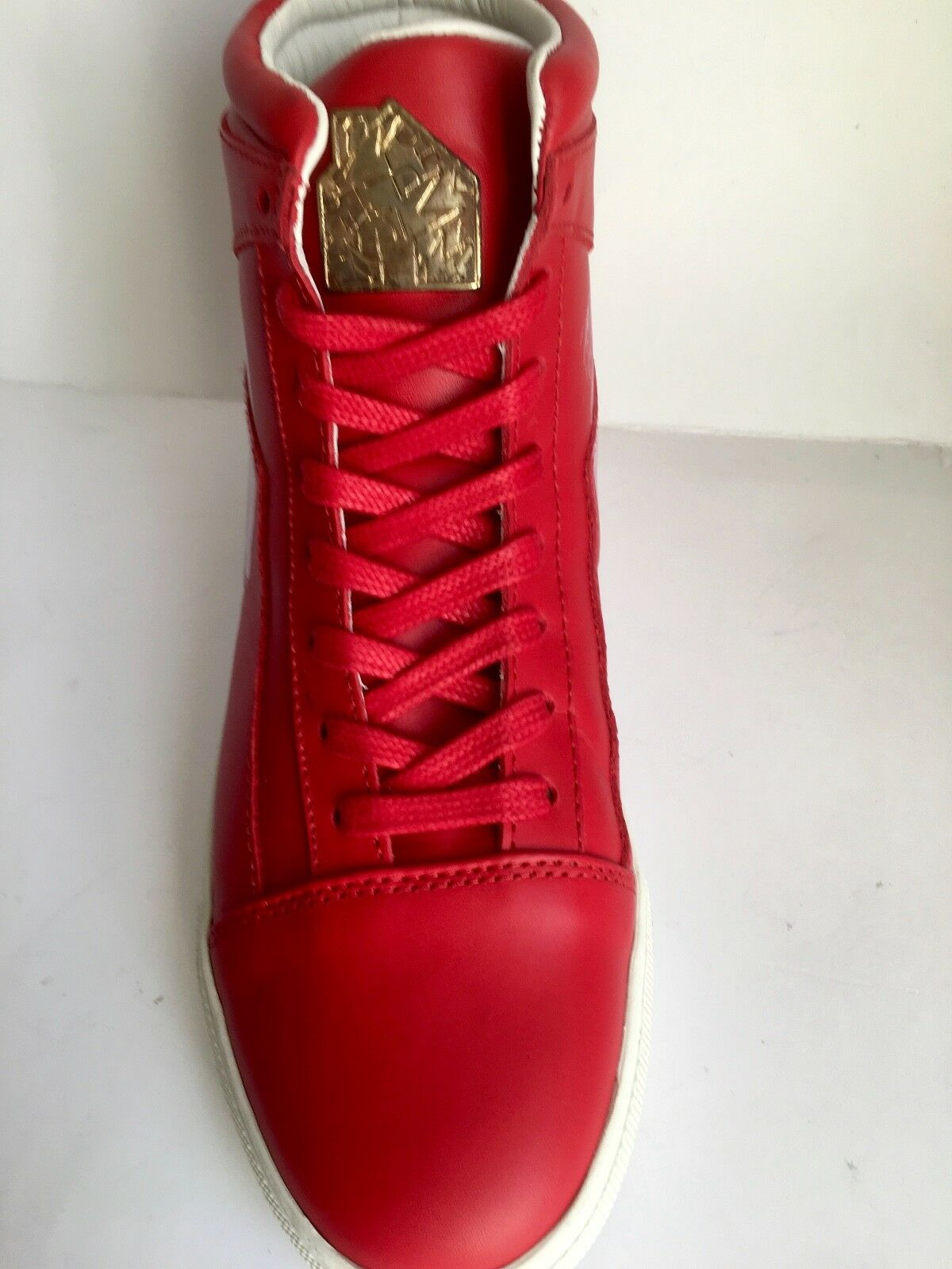 L'HOMME DE MAISON BY BRIAN NICKSON ETIENNE RED HIGH TOP SNEAKERS  9 RRP250£