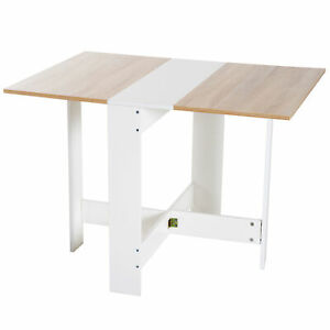Drop Leaf Dining Table Wood Folding Kitchen Table Space Saving Oak