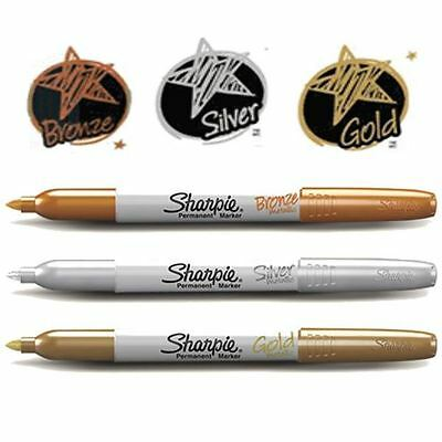 3 Metallic Permanent Markers for Plastic Glass /& Metal Gold Silver Bronze