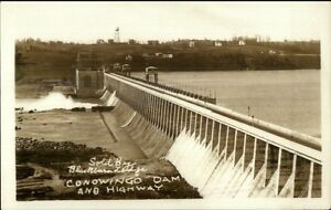 Conowingo-Dam-MD-Homes-in-Background-c1930-Real-Photo-Postcard