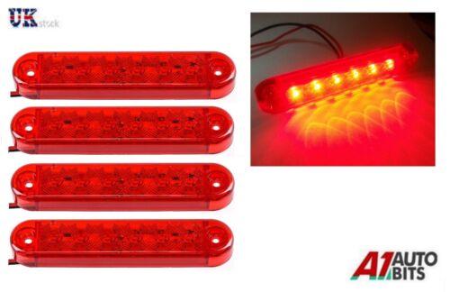 4x LED 12V 24V SIDE RED REAR TAIL SIDE MARKER LAMPS LIGHTS TRUCK LORRY OUTLINE