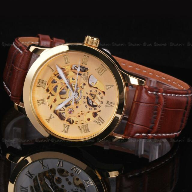 Mens Luxury Stainless Steel Automatic Mechanical Skeleton Sport Wrist Watch