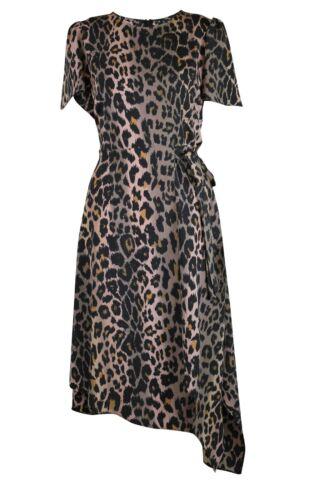 Womens Ladies Brown Black Leopard Animal Print Side Tie Wrap Effect Midi Dress