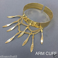 Trendy Bohemian Style Gold Finish Dangle Double Chain Spikes Decor Arm Cuff