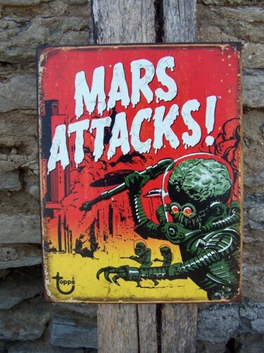 Sci-Fi Movie Sign Ad Retro Basement Room Wall Decor Antique Style Mars Attacks