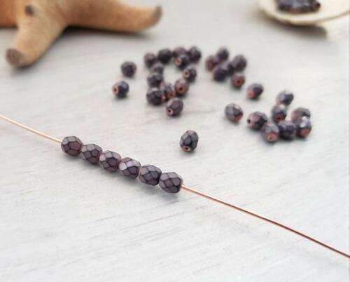 4 mm Grey Purple Snake Fire Polish Czech Glass Beads50 Beads