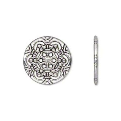 20 Antiqued Silver Plated Pewter Double Sided 18mm Filigree Round Charms