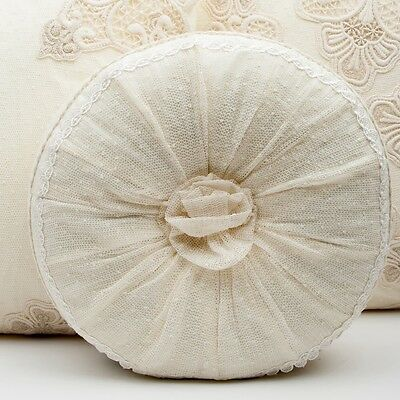 French Shabby Chic Lace Cushion Throw Pillow Cream Round Rosette