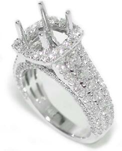 Stunning-1-80-Ct-Round-Diamond-Halo-Semi-Mount-Setting-14K-White-Gold