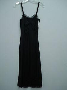 """NWT Women's USA Made Nancy King Lingerie 29"""" Full Dress Slip Size 32 Black #19N"""
