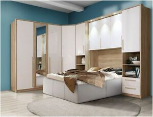 Image Is Loading Cologne Overbed Unit Wardrobe White Gloss Amp Oak