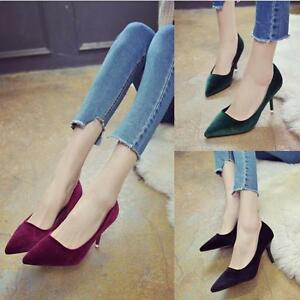 New-Women-039-s-Fashion-High-Heels-Pointed-Toe-OL-Stilettos-Formal-Suede-Lady-Shoes