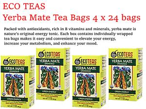 4 x 24 bags ECO TEAS Yerba Mate Unsmoked Tea Bags - Green Energy