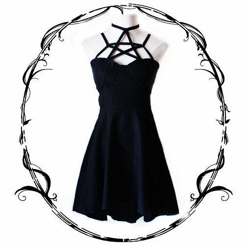 Cool Japanese Punk Harajuku Vintage Gothic Lolita Slim Black Sexy Women's Dress