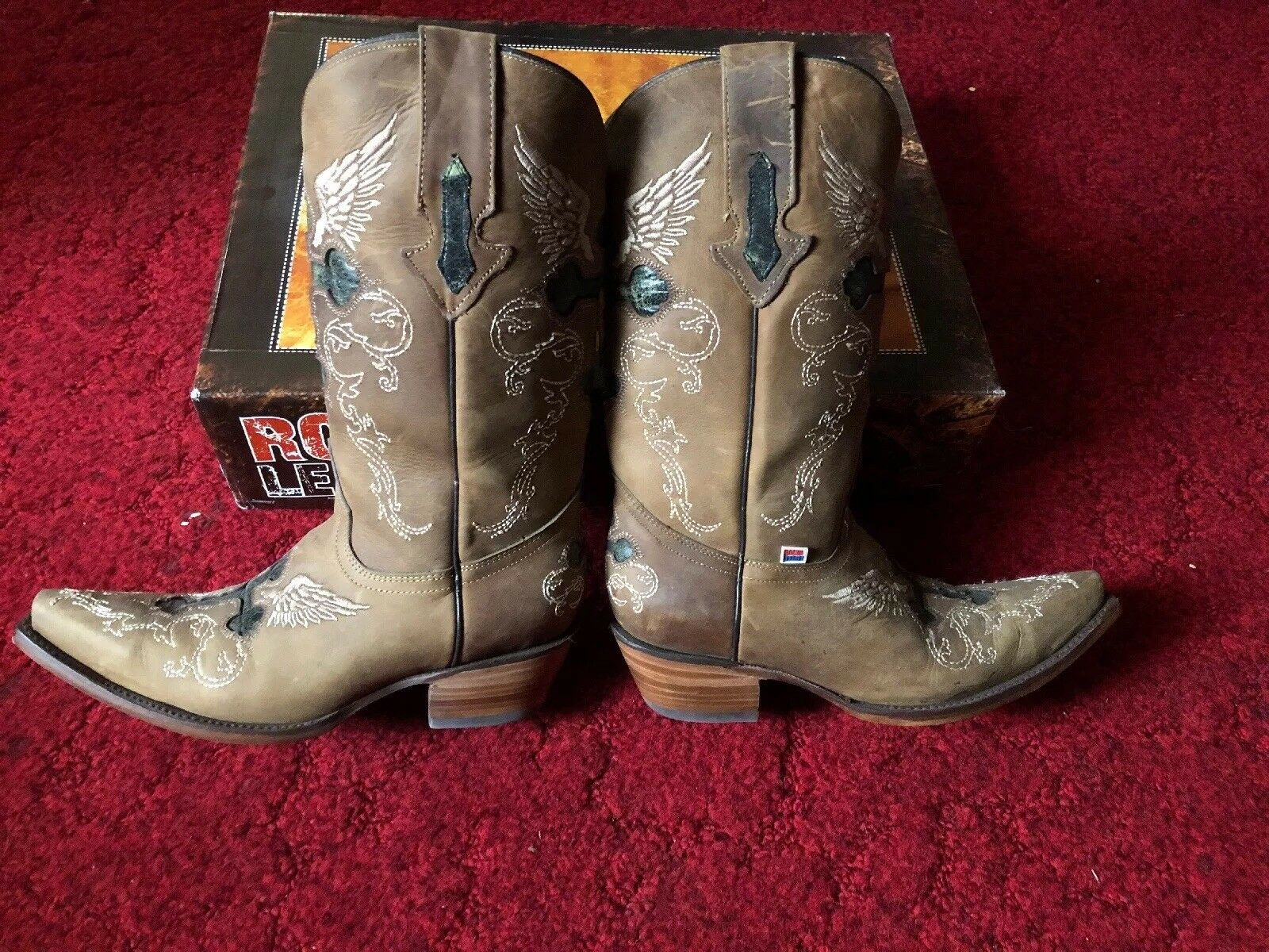 Womens Womens Womens Brass color Snip Toe Boots 8.5B 0fa083
