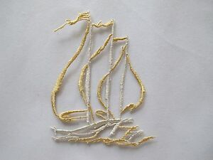 3428S-Gold-Silver-Ship-Sail-Flag-Ocean-Embroidery-Iron-On-Applique-Patch