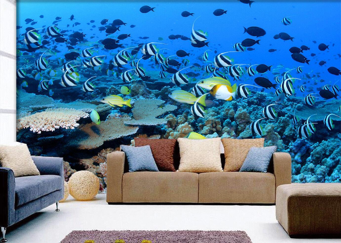 3D Dense Fishs Swarm 7 Wall Paper Murals Wall Print Wall Wallpaper Mural AU Kyra