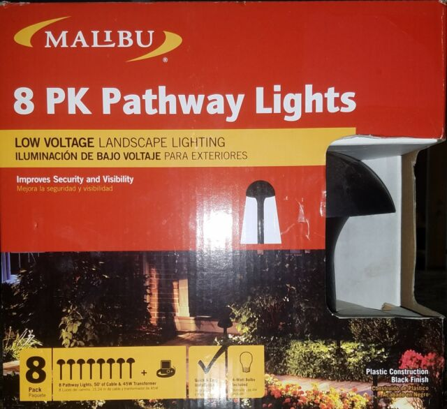 Malibu Pathway Light Kit 8 Pack Low Voltage 4w Landscape Lighting In Box