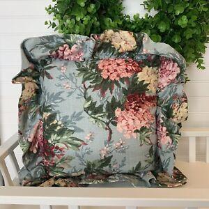 Vintage-Barkcloth-Pillow-Blue-Floral-Ruffle-Cottage-Bungalow-18X18-LOVELY