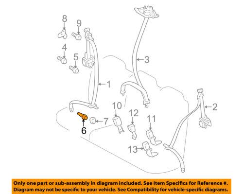 Second Row Back Rear Seat Belt-Center Belt Assembly Lower Bolt 90109A0033