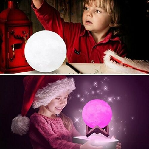 3D Lunar Moon Lamp Moonlight LED Night Light Touch Pad Remote Dimmable 8-20cm
