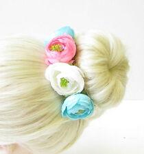 Pink Ivory Blue Rose Flower Bun Garland Headband Hair Holder Floral Wrap 1791