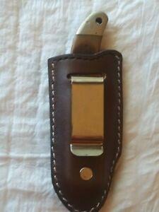 Custom-Leather-Belt-Pocket-Clip-Knife-Case-Sheath-Handmade-Buck-110-Old-Timer