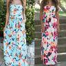 Mode Femmes sans bretelle épaule découverte floral bal soirée Long plage robe