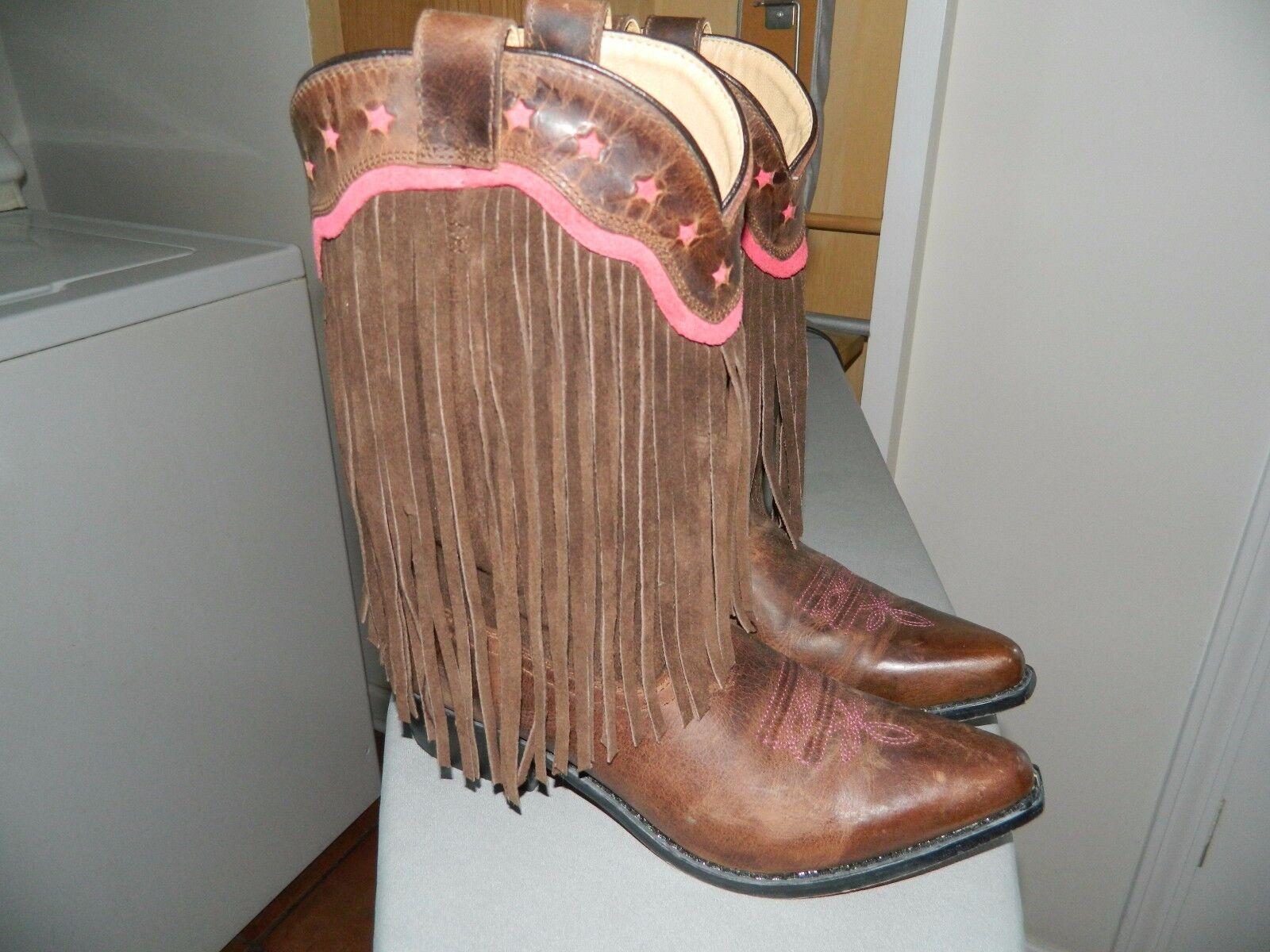 Smokey Mountain Mountain Mountain damas botas de vaquero con flecos de cuero 78975c