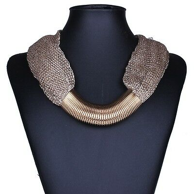 hot sell women winter fashion mesh web link chains tibet bib choker necklace