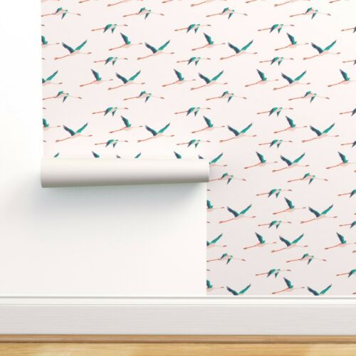Peel-and-Stick Removable Wallpaper Flamingos In Flight Flamingo Flying Birds